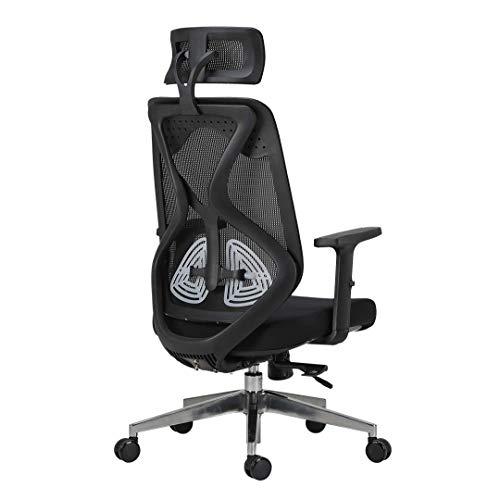 Silla de Oficina Esports Asiento ergonomico Cintura Doble Arrastre cojin Ajustable Sala de Juego de la Oficina en casa sillas para Ordenador RVTYR (Color : Black)