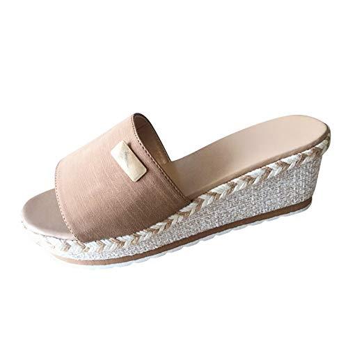 Yowablo Pantoufles sandales chaussures femmes mode chaussures décontractées respirant talon compensé pantoufles de loisirs de plein air (40,rose)