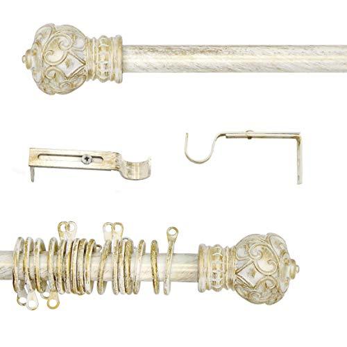 AT17 Gardinenstange Ausziehbar, Vorhangstange Gardinenstange Variable Länge Landhaus Shabby Chic - Vintage - 120-210 - Durchmesser 2 cm - Hell Creme/Gold - Metall