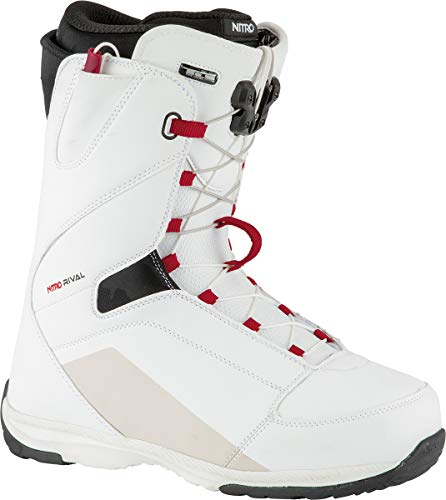 Nitro Snowboards Herren Rival TLS '21 All Mountian Freeride Freestyle Schnellschnürsystem Boot Snowboardboot , White-Black-Red, 28.5