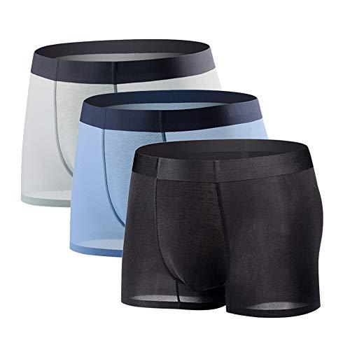 Boxer Homme Sexy Transparent Soie Glacée sous-Vêtement Invisible Mince Léger Respirant Caleçon Séchage Rapide sans Couture(Lot de 3) - Noir+bleu+gris Clair - L