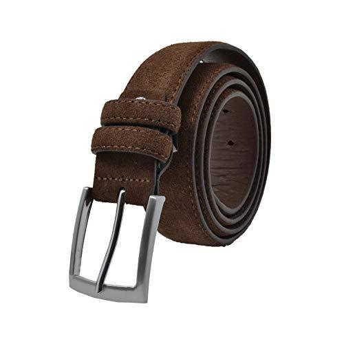 GRESEL Damen und Herren Wildleder Gürtel, Echtes Leder, Made in Italy, Kürzbar Braun 125 (Größe 54-56)