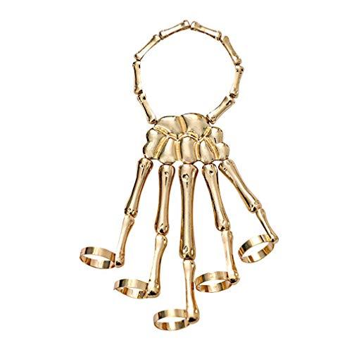 HAIDEL Skull Skeleton Hand Bracelet with Ring, Fashionable Skeleton Punk Hand Bone Bracelet Bangle Ring for Nightclub Halloween Costume Accessories Valentines Rock (Golden)