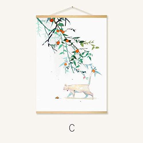 QLIYT Chinesischen Stil Blume Hängen Rollbild Leinwand Poster Und Drucke Wandkunst Wandbilder Für Wohnzimmer Nordic Home Decor-16X24_Inch_ (40X60 cm) _C