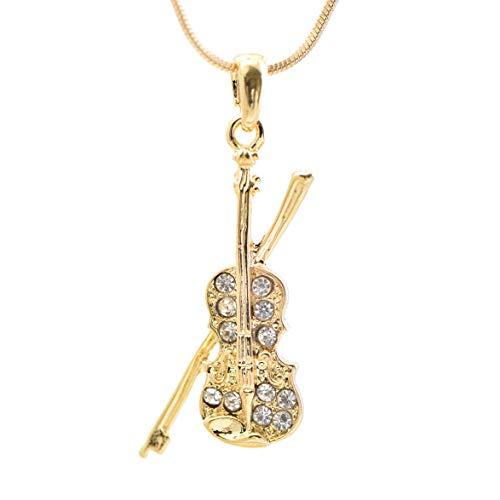 Spinningdaisy Tiny Jewel Crystal Violin and Bow Necklace Gold