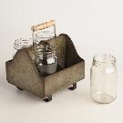 Zinc Metal Caddy with Glass Jars | World Market