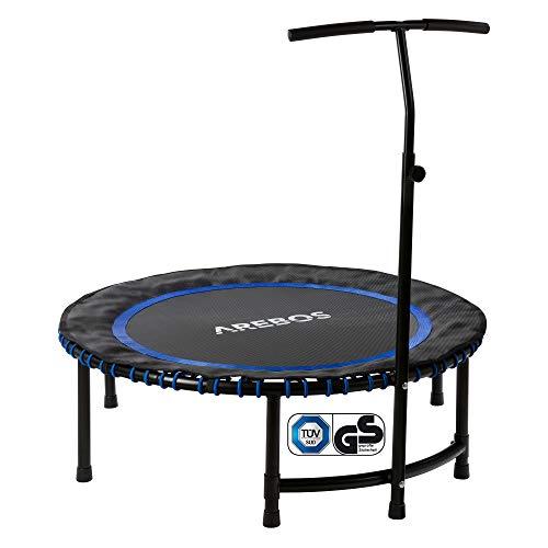 Arebos Fitness Trampolino Con Manubrio | Peso Utente Fino A 120 Kg | Sistema Di Corda Elastica | Rotondo | Blu
