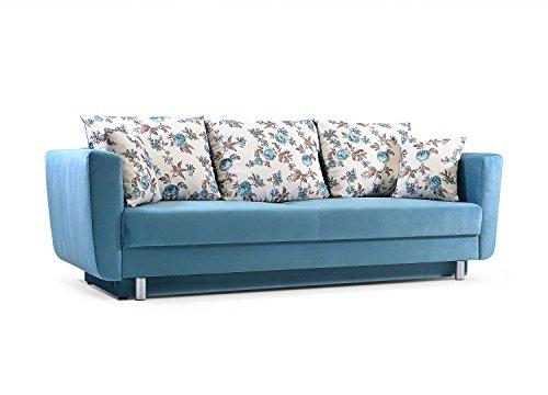 mb-moebel Schlafsofa Kippsofa Sofa mit Schlaffunktion Klappsofa Bettfunktion mit Bettkasten Couchgarnitur Couch Sofagarnitur Emilie (Blau)