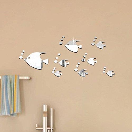 Toifucos Adesivi da Parete a Specchio, Pesce Carino Adesivi Murali Removibile DIY 3D Specchio Adesivo Murali per Casa Salotto Camera da Letto Creativi Decorazione, 8pcs