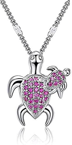 NC198 Collar Colgante en Forma de Tortuga Collar de Diamantes con Collar de Piedras Preciosas