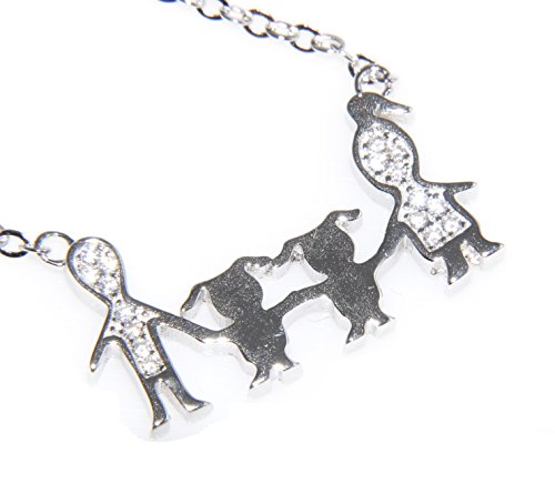 NALBORI argento 925 : collana forzatina famiglia papa mamma bambino bambina figlio unico (famiglia con 2 bambine)