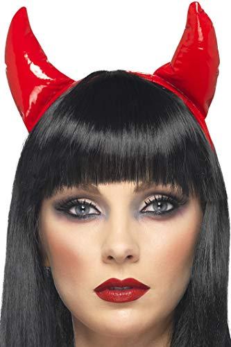 Smiffy's- Halloween Diadema con Cuernos de diablesa de, Roja, Color Rojo, única (21425)