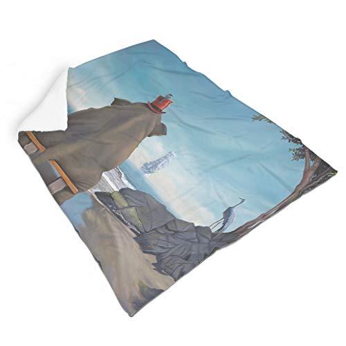 Magiböes Manta de franela con diseño de elefantes, árboles, velas, barcos, pájaros impresos, acogedora, decoración interior, color blanco, 110 x 140 cm