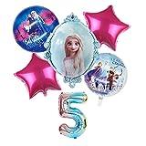 Jjwlkeji Stoviglie per Feste Frozen Elsa Princess Baby Shower Girl Decoration Decorazione Partito Bambini Bambini Preferisci Piatti Birthday Party Decor Forniture (Farbe : 6pc ballon5)