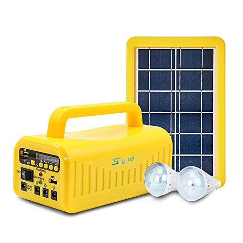 soyond Portable Solar Generator with Solar Panel Solar BT Speaker System with MP3 Player, FM Radio for Home Emergency Backup Power Camping Outage