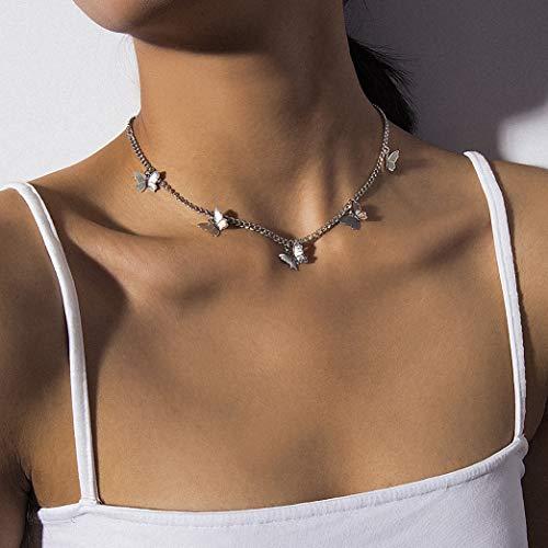 Kercisbeauty Silver Butterfly Necklace for Women Ladies Girls Gift Her Jewelry Butterfly Choker(Silver)