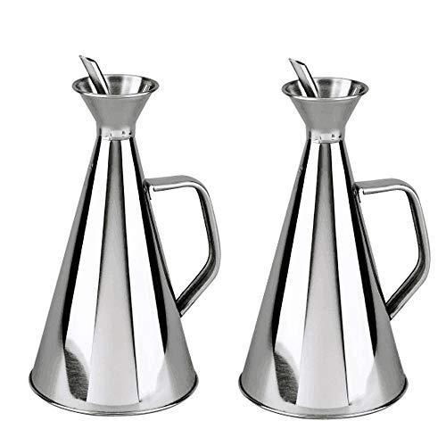 Haus Roland Edelstahlspender für Olivenöl, kein Trichter erforderlich, tropffreies Ausgießen für Küche, Kochen und Grillen (GS-08127-2PC-750ML, Silber)