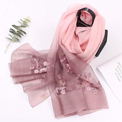 Damenschals Four Seasons Wilde Seide Bestickt Wolle Schals Gradienten Seidenschal (Color : 3)