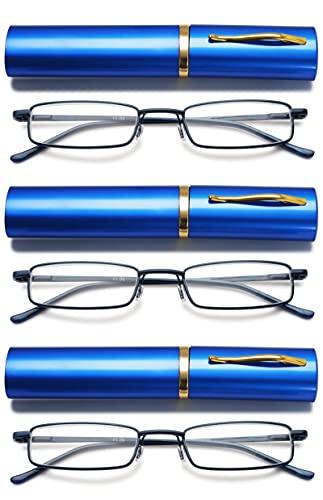 VEVESMUNDO Metall Lesebrille Mini Kompakt Leicht Federscharnier Schmal Klassische Lesehilfe Brille mit Metall Etui (3 Stück blau Lesebrillen, 2.0)
