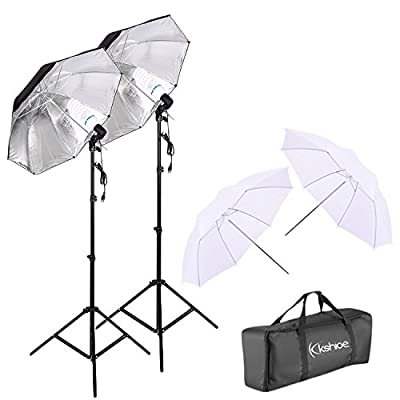 Kshioe 450W Photography Dual Photo Umbrella Lighting Video Continuous Light Kit-Black/Silver &White Umbrella Reflector+ Photo Light Bulb+ Tall Studio Umbrella Flash Strobe Light Stand from Kshioe