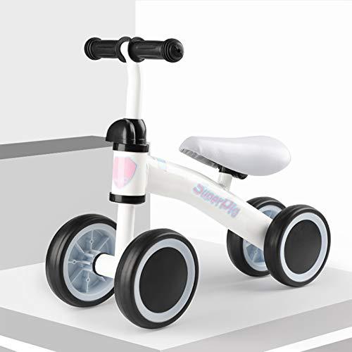 DDXY-Bicicleta de Equilibrio para Bebés y Niños Pequeños,Montar Bicicleta Sin Pedales 10-36 Meses,Bicicleta Deslizante para Niños de 4 Ruedas,Blanco