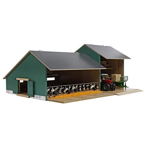 Van Manen Kids Globe Farming Kuhstall mit Werkstatt - aus Holz, Maßstab 1:32, mit aufklappbarem Dach – 610200