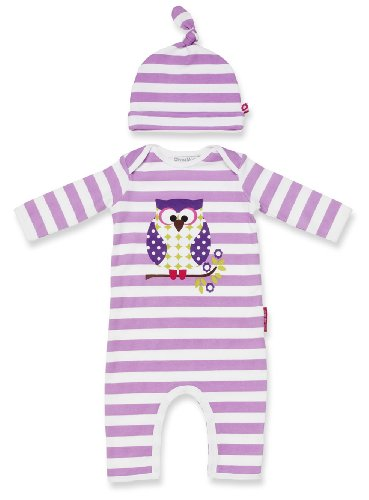 Olive&Moss OWL-PS2 Overall Otto die Eule – Lila/Weiß – 6-12 Monate