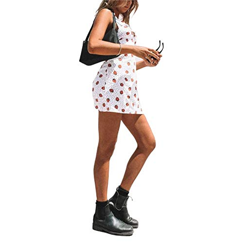Vestido corto sin mangas para mujer, Y2k, con cuello halter, sexy, sin espalda, con estampado floral, para niña, vestido de calle de los años 90