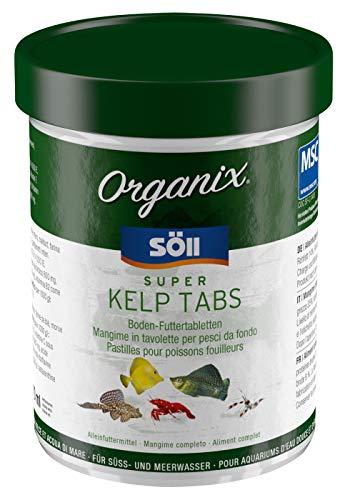 Söll 16248 Organix Super Kelp Tabs 270 ml (118 g) - Fischfutter Bodenfuttertabletten mit Vitaminen und Spurenelementen für Pflanzenfresser wie Garnelen, Krebse, Welse und Cichliden im Aquarium