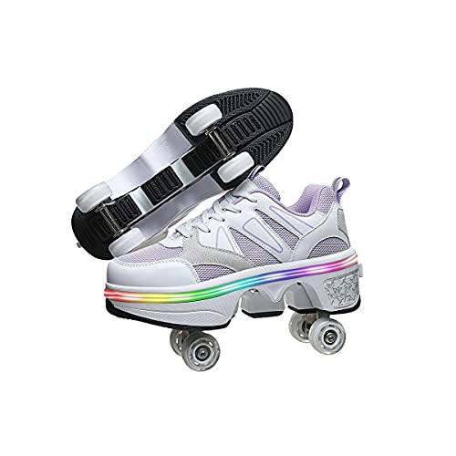 HANHJ VIIPOO Doble Rodillo Zapatos De Skate Zapatos Invisible Polea Zapatos Zapatillas Deporte Luz Zapatos con Luces LED De Colores Zapatos Multiusos, Niños Zapatos con Ruedas,White-37