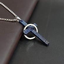JINKEBIN kettingen Eenvoudig kruis met cirkel hanger kettingen roestvrij stalen ketting Christus Cruz ketting voor mannen ...