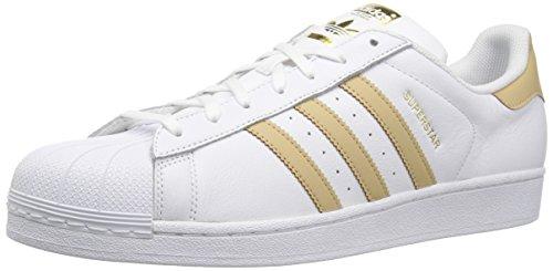 adidas Superstar, Zapatillas para Correr para Hombre, Blanco/Lino Caqui/Dorado metálico, 4.5 M US