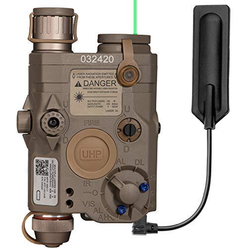 ACTIONUNION Airsoft PEQ 15 Pro Green Laser PEQ Box IR Laser + Green Laser Sight + White LED Flashlight for AEG GBB CQB (Tan)