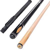 YJTQG プールキュー、58インチ18-21オンスメープルプールキュースティックビリヤードルームアクセサリー、グリップ直径32.5mm、ナインボール用/黒/Pole bag