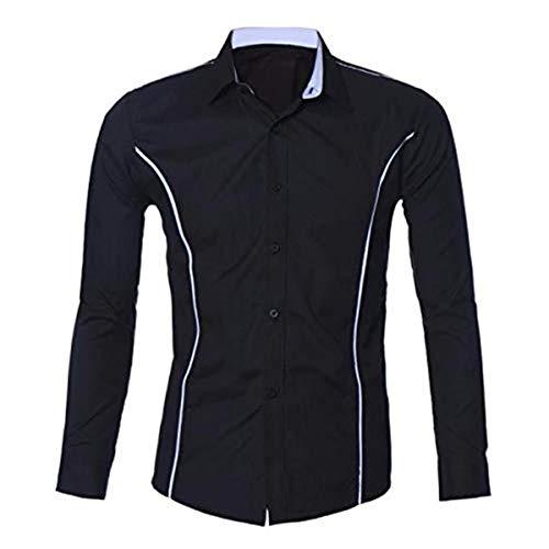 Aiserkly 2019 - Camisa de manga larga para hombre, informal, ajustada, elegante, cuello con botones, cómoda, para negocios Negro Negro ( XL