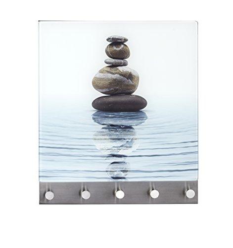 Wenko 50400100 Hakenleiste Meditation - 5 Haken, magnetisch, Gehärtetes Glas, 34 x 30 cm, mehrfarbig