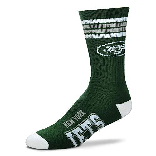 For Bare Feet NFL 4 Stripe Deuce Crew Herren-Socken, Größe M, 38-45 - 46 - New York Jets