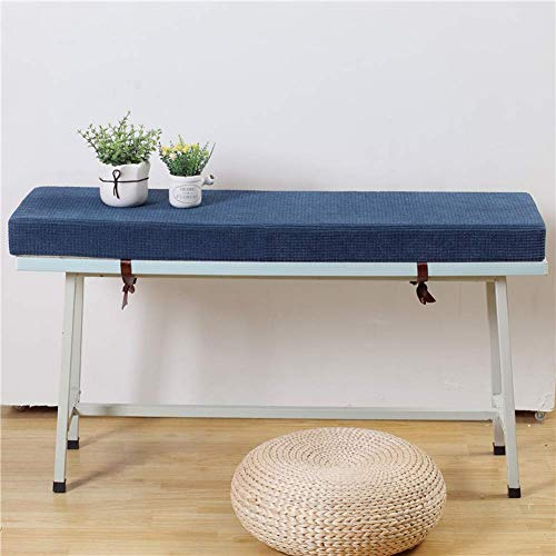 JY&WIN Thickened Corn Fleece Bench Cushion, Outdoor Patio Long Stool Mat, Dining Room Rectangular Sofa Non-slip Cushion with Safety Straps Blue 30x50x7cm