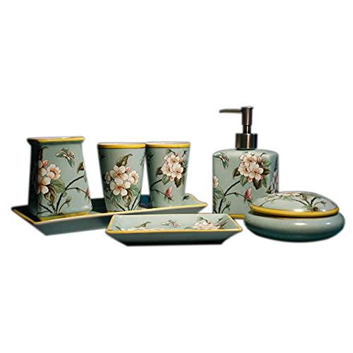 Xbd Set de Baño de 7 Piezas,Que Incluye dispensador de jabón,portacepillos de Dientes,Taza de Agua,jabonera,Bandeja,Conjunto de Accesorios de sobreponer para el Lavabo