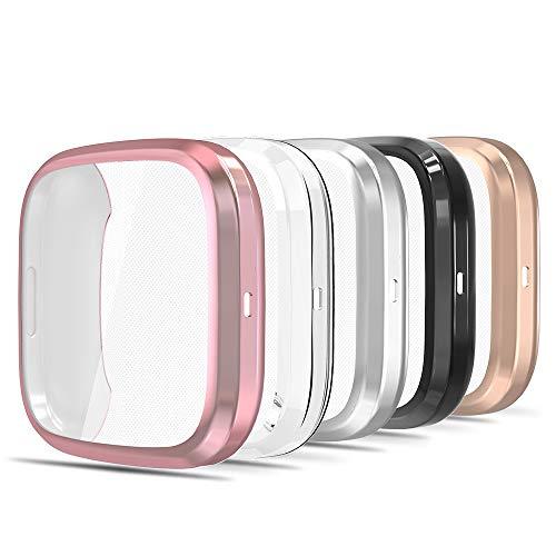 Simpeak Cover Compatibile per Fitbit Versa 2[Confezione da 5], Custodia Compatibile con Fit Bit Versa 2 Full Protettivo TPU Caso, Nero+ Trasparente+ Argento+ Rosa Oro+ Rosa