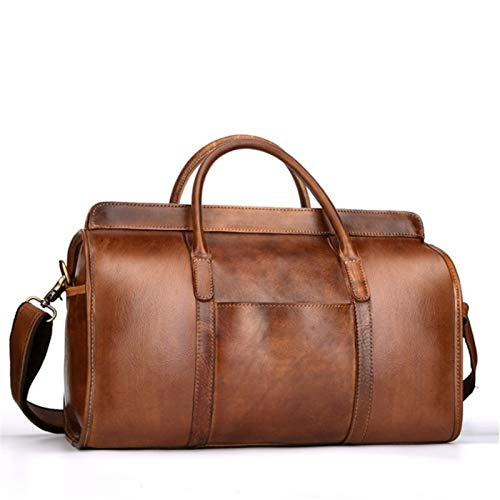CaoQuanBaiHuoDian Convenient Luggage Bag Smooth Leather Travel Bag Men Women Vintage Travelling Bags Hand Luggage Brown Waterproof High Capacity Widely Used (Color : Khaki, Size : 38.5x17x24cm)
