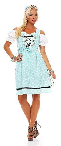 Fashion4Young 4732 Dirndl 3 TLG.Trachtenkleid Kleid Mini Bluse Schürze Trachten Oktoberfest (34, Türkisblau-Weiß)