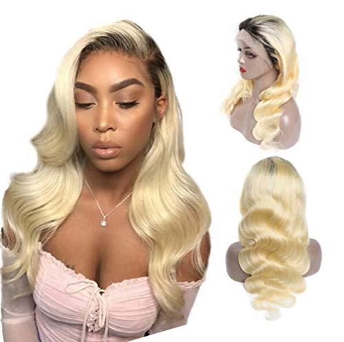 LQ&XL perruque femme naturelle T613 postiche cheveux blonde bouclée longs ondulés Human Hair Lace Front Wigs Pre-Plucked Natural Hairline with Baby Hair 150% Density 20inch pour Cosplay A/A