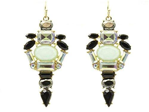 Beyoutifulthings 1 Paar Ohrringe Damen aus Edelstahl vergoldet Cluster aus Steinen nach Shourouk Länge: 5.71