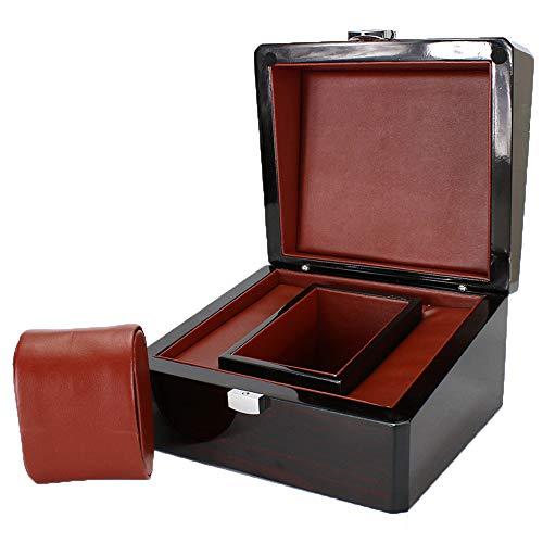 WMC Organizer, Uhrhalter Premium-Holz-Uhr-Kasten Einzel Gird Halter Mit Herausnehmbaren Kissen Vitrine Schmuck Aufbewahrungsbox Für Männer Frauen