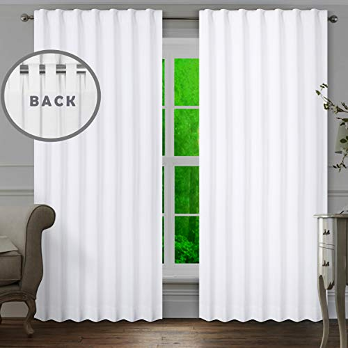 Livingroom curtains 2 Panel sets 50x108 inch White,Bathroom curtains,Bathroom window curtains,white 108 inch curtains,cotton curtains,tab top curtains,white cotton curtains,white panel curtains