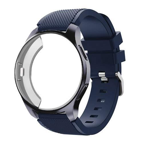 YGGFA Funda de silicona+correa para Samsung Galaxy Watch de 46 mm/42 mm, correa Gear S3 Frontier+funda protectora (color de la correa: azul medianoche 8, ancho de la correa: reloj Galaxy 42 mm)
