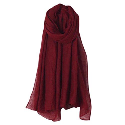 Xuniu Pañuelos Largos, Abrigo Largo De La Bufanda del Color Sólido De Las Mujeres Lino Grande De La Vendimia del Algodón del Mantón Hijab Elegante Vino Tinto