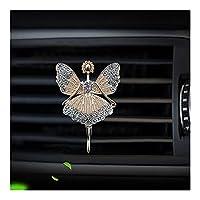 車の自動エアコンアウトレットベントエア香水クリップの妖精のスタイルの車の芳香剤香水瓶の拡散器 (Color Name : Golden A)