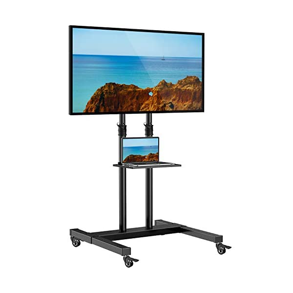 Mobile TV Stand on Wheels for 32-60 Inch Flat/Curved Panel Screens TVs – Height Adjustable Floor Trolley Stand Holds up to 99lbs – Tilt Rolling TV Cart with Shelf Max VESA 600x400mm